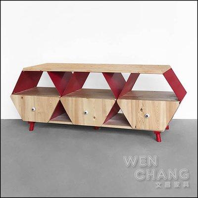 貝德三抽電視櫃 鐵木造型電視櫃 多彩金屬櫃 CB008-3 *文昌家具*