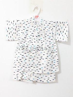 ✪胖達屋日貨✪褲款 90cm 白底 橫紋 小魚 日本製 男 寶寶 兒童 日式和服 浴衣 甚平 抓周 收涎 表演服