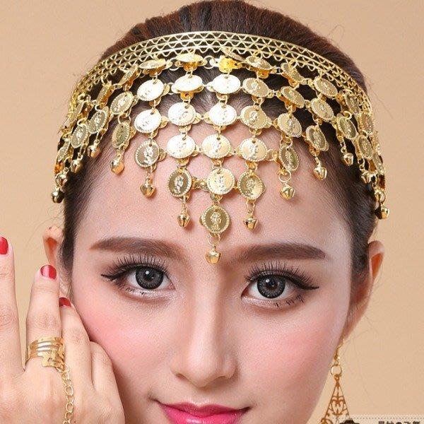 5Cgo【鴿樓】會員限定促銷 44250252755 肚皮舞項鏈頭飾印度舞金幣吊墜黃金色首飾品髮圈 另有手環指甲套舞鞋衣