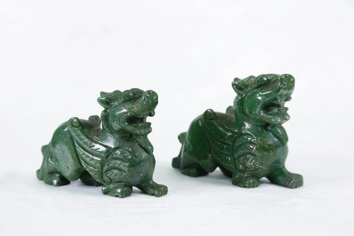 《博古珍藏》綠砂金石貔貅一對.594公克.鎮宅開運風水招財.辦公室擺飾.底價回饋