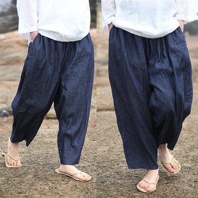 好棒棒衣舍_夏季薄款做舊舒適超寬鬆毛邊大碼闊腿褲_文藝氣質飄逸