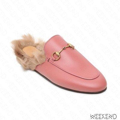 【WEEKEND】 GUCCI Princetown 皮革 刷毛 毛毛 拖鞋 穆勒鞋 粉色 397749
