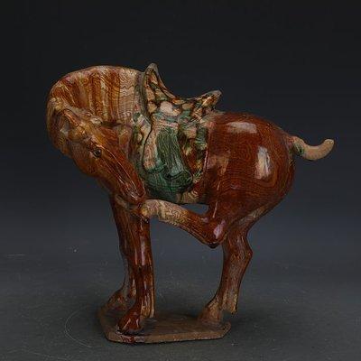 ㊣姥姥的寶藏㊣ 唐三彩手工雕塑瓷絞胎啃蹄馬  出土文物古瓷器古玩古董收藏擺件