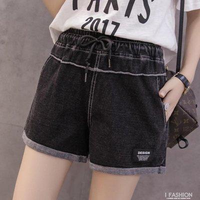 2018夏新款韓版寬管褲鬆緊腰大碼休閒褲寬鬆彈力針織牛仔短褲女潮
