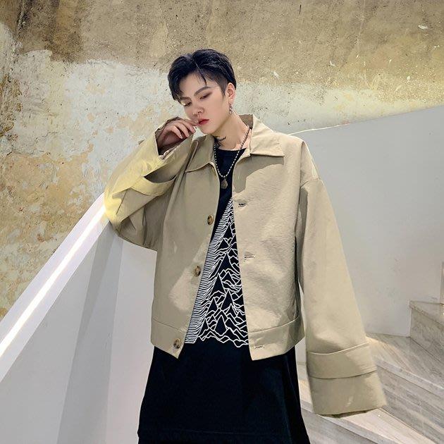 FINDSENSE 2019 秋冬上新 G19  暗黑廓形短款夾克山本風簡約氣質外套男裝百搭寬鬆休閒外套