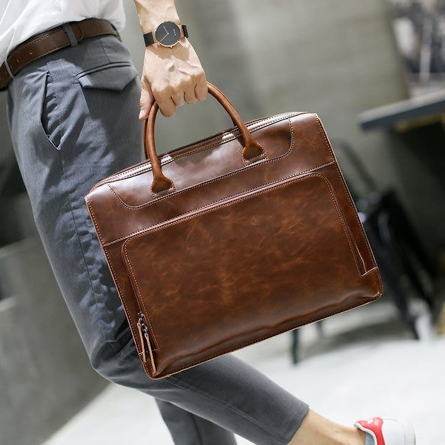 FINDSENSE 韓國男包 G6 男用休閒包耐用手提包時尚潮流公文包公事包商務簡約休閒個性手拎包