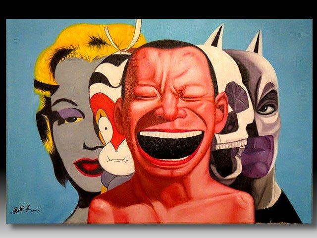 【 金王記拍寶網 】U1243  九O年代當代亞洲藝術家 岳敏君款 手繪油畫一張 ~ 罕見系列作品 稀少 藝術無價~