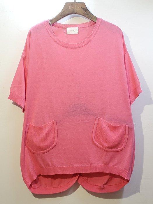 韓國MA:llM 前口袋針織衫 前短後長 圓領短袖 都會率性時尚休閒款~下單請註明選購顏色【衣荳小舖】連線超低價