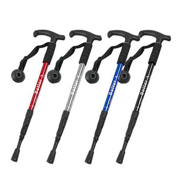 5Cgo【鴿樓】9944906989 戶外滑雪裝備伸縮減震拐杖手杖登山杖四節杖 110cm