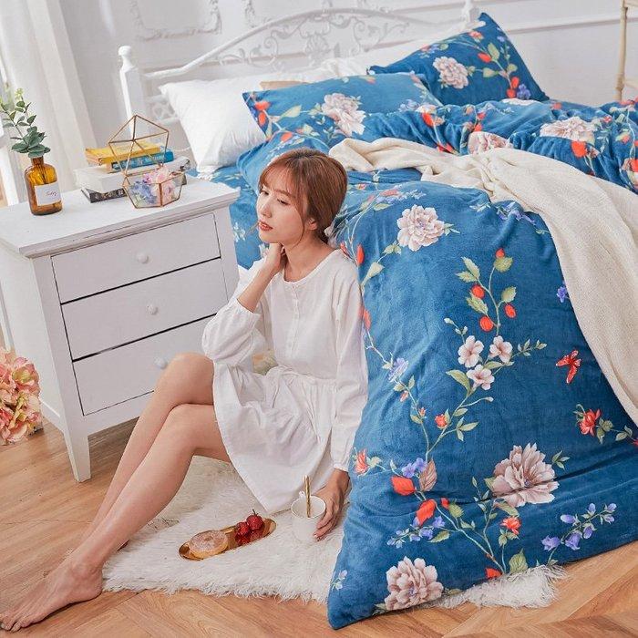 法蘭絨 / 雙人加大【蔚藍花吟】含兩件枕套  鋪棉床包薄被毯組  戀家小舖AAR315