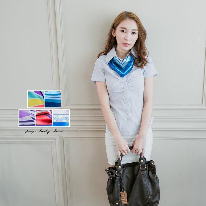 襯衫專用 女孩藍條亮彩絲巾/領巾《SEZOO襯衫殿 高雄店家》047000004