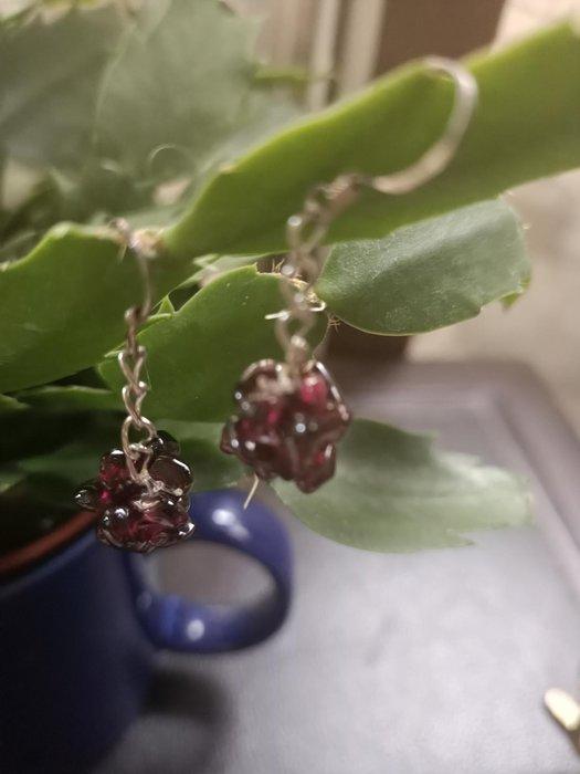 紅石榴石 純銀耳鉤 串珠耳環 半寶石手作首飾 創意設計