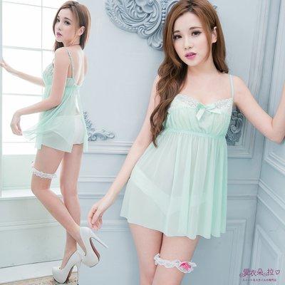 性感睡衣 高腰洋裝 小清新果綠色甜美蕾絲睡衣 情人節禮物-愛衣朵拉W224