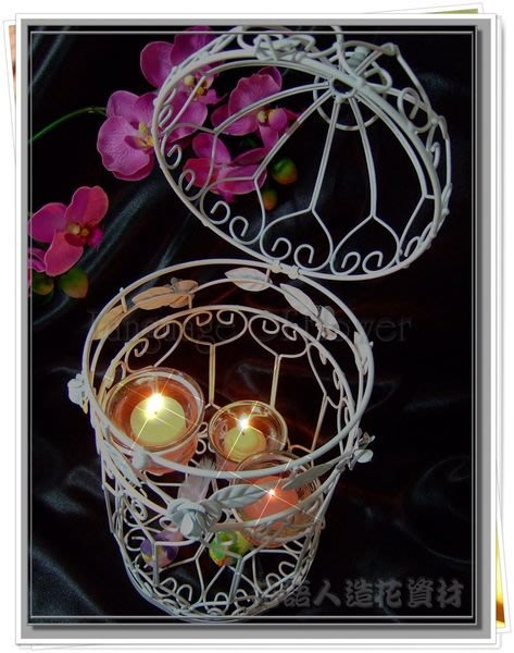 ◎花語人造花資材◎*多功能6006鳥籠花藝3杯燭臺*婚禮佈置~攝影~會場佈置~造景