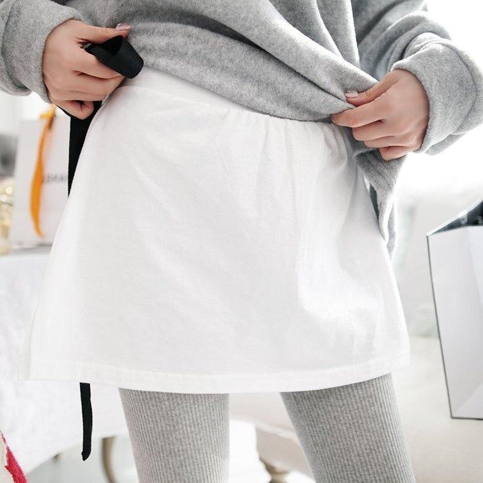 現貨 白  Bellee  正韓  側開衩腰鬆緊棉質內搭短裙   (2色) 【JA71206】