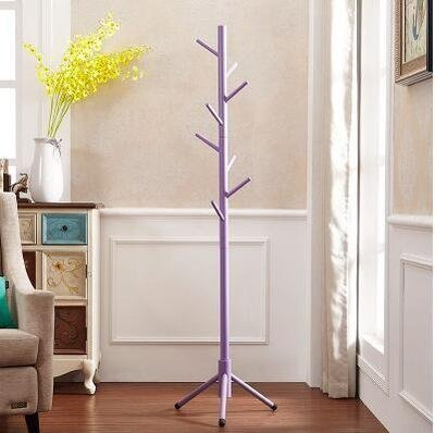 【優上】全實木衣架落地房間衣帽架掛衣架落地衣物架客廳單桿式衣服架「紫色」