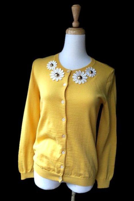 *Beauty*MOSCHINO白色花朵黃色長袖針織衫外套 WE16  蕾絲花