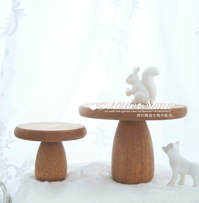 [ Atelier Smile ] 鄉村雜貨  森林系 復古婚禮蛋糕盤 小蘑菇木製托盤 收納盤 # 小 (現+預)