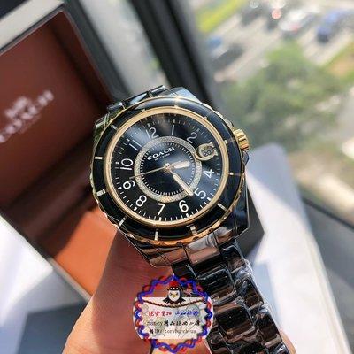 Coach蔻馳preston女生鑲鑽數字刻度陶瓷石英腕錶日本石英手錶情侶對錶計時碼錶