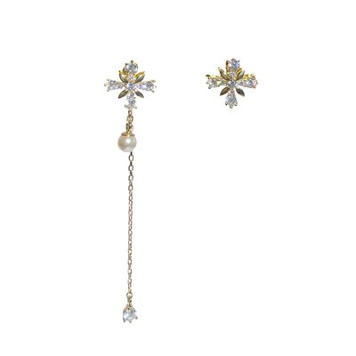 卡哇伊~Pressing Love個性長短不規則通體純銀耳環珍珠鋯石十字花型耳飾