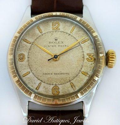 ((天堂鳥)) 1947年 ROLEX OYSTER ROYAL cal 1710 半金手上鍊錶|原裝錶面