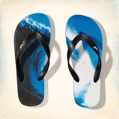 【天普小棧】HOLLISTER HCO Graphic Rubber Flip Flops海灘夾腳拖鞋人字拖鞋號M號