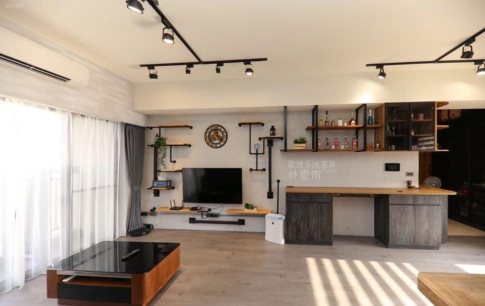 【歐雅設計】溫暖又強烈 LOFT個性工業風 質感設計 臥房 玄關 客廳 餐廚 臥房 推拉門 收納櫃