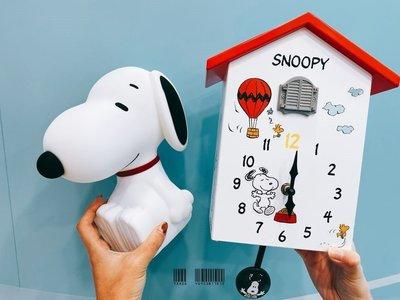 一組紅色狗屋電子鐘+限量狗屋造型報時咕咕鐘SNOOPY史奴比 查理布朗日本咖啡廳時鐘擺飾裝飾7-11 7-ELEVEN70週年快樂積因DISNEY迪士尼玩具