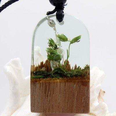 現貨【創意精匠】廠家直銷樹脂木頭結合夜光新款樹榴吊墜毛衣鏈