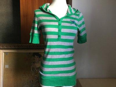 ❤️女裝上衣 雨傘 Arnold palmer 綠淺灰 橫條紋 連帽短袖 V領 彈性 針織100%棉衫#38 適M~L