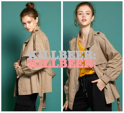 KillBeer:漂丿的都市名媛之 歐美復古英倫Burberry感設計女孩風格泡泡袖扣環綁帶短版傘擺風衣外套091811