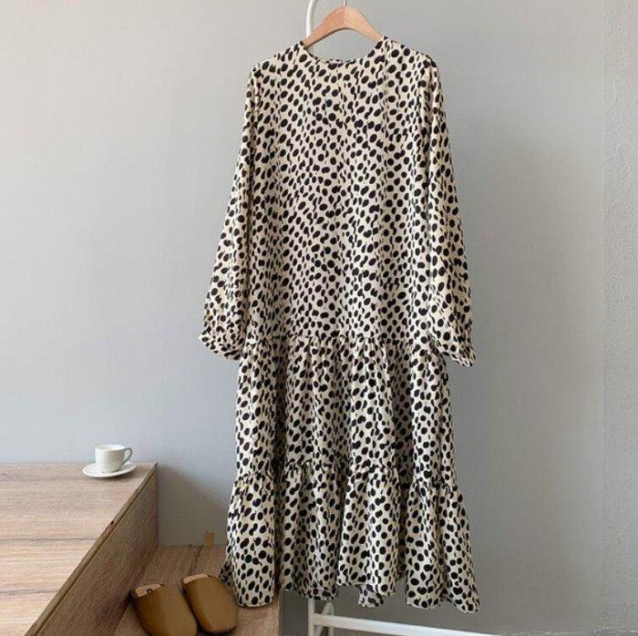 莎芭 雪紡洋裝 連身裙 中長款韓版新款長袖雪紡長裙子