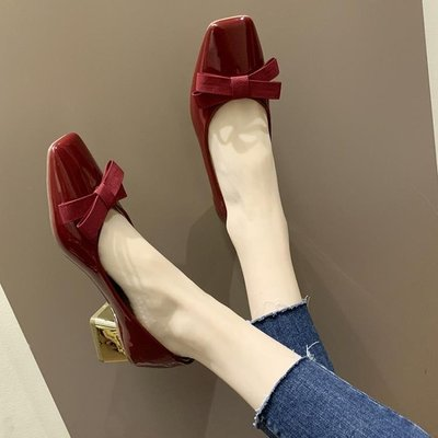 現貨 單鞋 方頭單鞋女2020春季新款百搭粗跟法式小高跟鞋少女網紅一腳蹬女鞋