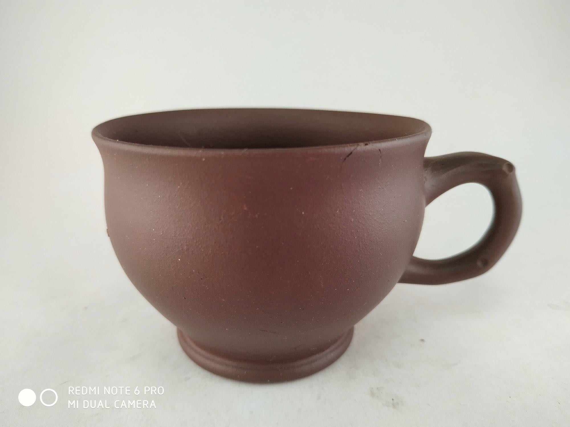 《藏寶閣》22725《早期收藏,廠內方圓牌,紫砂杯.135cc》中國宜興 1850元