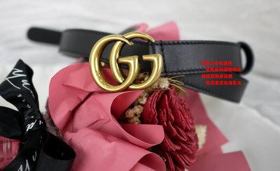 優買二手精品名牌店 GUCCI 409417 黑 全皮 金 色 金釦 GG MARMONT 皮帶 腰帶 75*2 全新