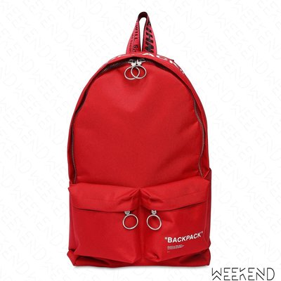 【WEEKEND】 OFF WHITE Quote Backpack 後背包 紅色 18秋冬