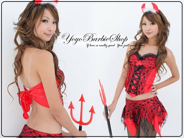 【YOYO芭比小舖】B-793 艷野迷情馬甲小惡魔裝|專賣高校服.和服及各式樣制服訂做