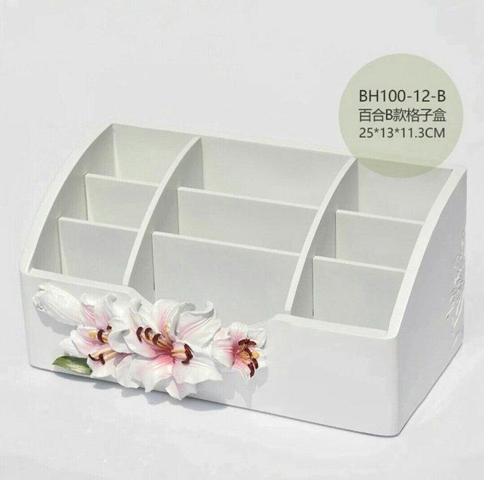 粉紅玫瑰精品屋~創意歐式時尚簡約百合花桌面收納盒~粉百合