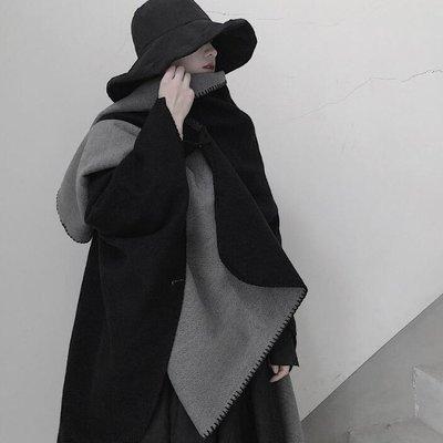 毯子寢具被子圍巾毛毯 北歐風保暖大圍巾仿羊絨扎染加厚黑白雙面大披肩 艾爾莎【TOY2491】