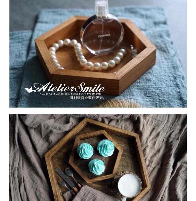 [ Atelier Smile ] 鄉村雜貨  森林系 復古婚禮蛋糕盤 六角木製托盤 收納盤 # 大款 (現+預)