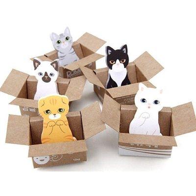 PS樂 【CJ1674】韓版文具 愛貓 貓咪紙箱 造型小巧盒裝留言便條紙