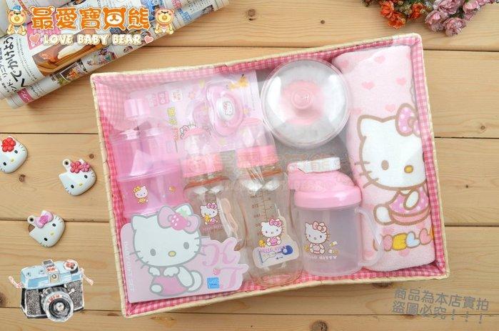 ✪最愛寶貝熊✪㊣凱蒂貓KITTY台灣製PES奶瓶/毛巾/學習水杯/奶粉分裝盒/奶嘴/粉撲盒七件組彌月禮盒滿月禮盒~附禮袋