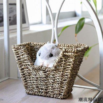 麵包籃 編織籃 提籃 野餐用品 收納籃 日式草編創意寵物籃手工編織零食桌面收納籃倉鼠龍貓玩具