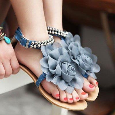 甜美花朵串珠夾腳涼鞋【S456】☆雙兒網☆