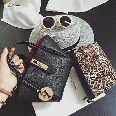 EmmaShop艾購物-早秋正韓國連線荔枝紋皮革配豹紋內袋托特包/小款素面/搭襯衫仿真皮水桶包後背包洋裝把手方包