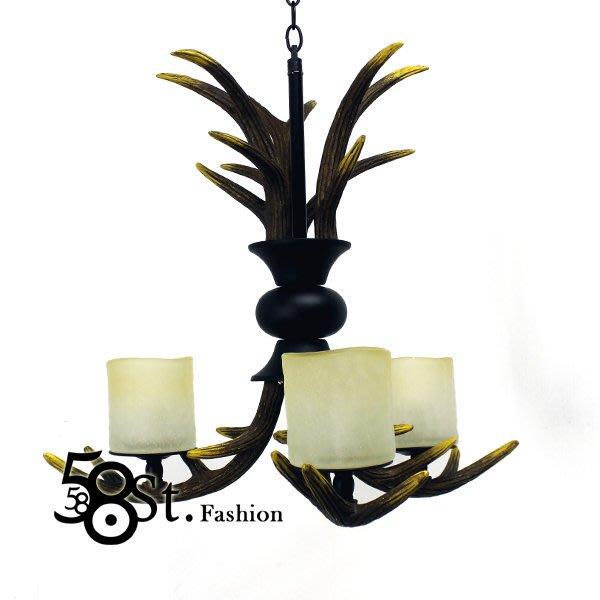 【58街】設計師款式「獸角 鹿角吊燈,3燈款式」複刻版。GH-403