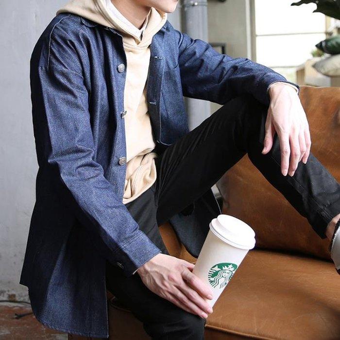 日繫中長款牛仔長袖夾克衫薄外套披風男裝新款