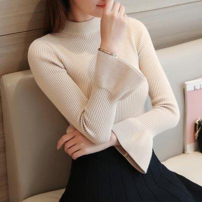 日和生活館 秋冬套頭毛衣女秋裝針織線衣正韓女裝喇叭袖半高領打底衫S686