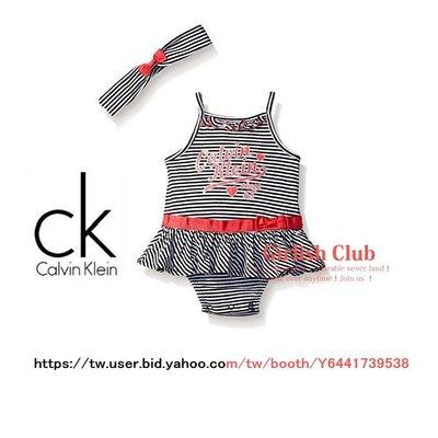 【Girlish Club】CK女寶寶條紋二件式包屁衣套裝18M(c452)gap Carter's彌月禮三一一元起標