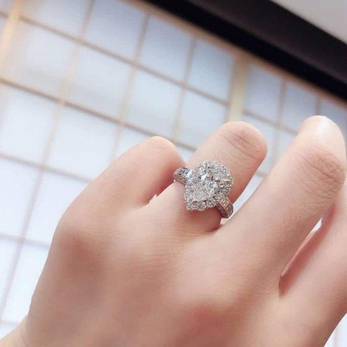 時尚奢華2.1克拉莫桑石鑽戒